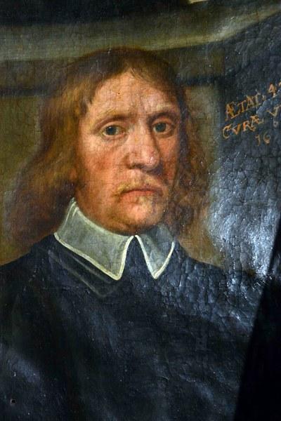 6987 ,Rendeux  détail d'une toile de 1653 avec le  curé Charles Jamotte,...
